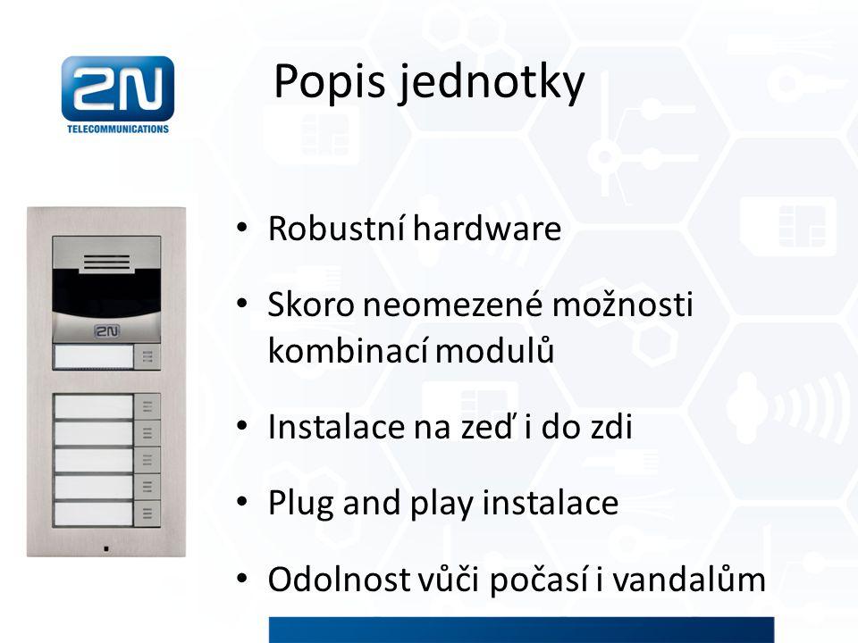 Popis jednotky Robustní hardware Skoro neomezené možnosti kombinací modulů Instalace na zeď i do zdi Plug and play instalace Odolnost vůči počasí i va