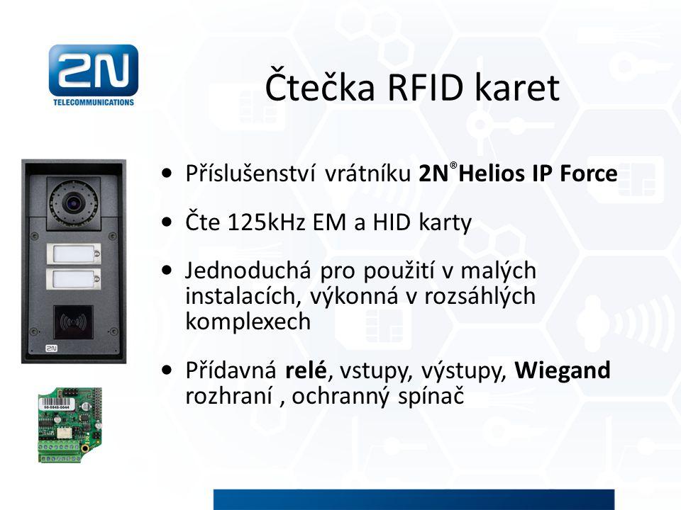 Čtečka RFID karet Příslušenství vrátníku 2N ® Helios IP Force Čte 125kHz EM a HID karty Jednoduchá pro použití v malých instalacích, výkonná v rozsáhl