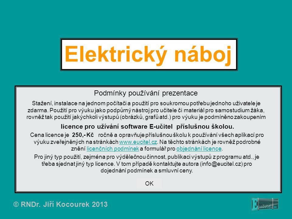 © RNDr. Jiří Kocourek 2013 Elektrický náboj Podmínky používání prezentace Stažení, instalace na jednom počítači a použití pro soukromou potřebu jednoh