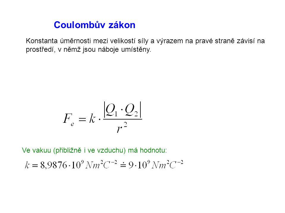 Coulombův zákon Konstanta úměrnosti mezi velikostí síly a výrazem na pravé straně závisí na prostředí, v němž jsou náboje umístěny. Ve vakuu (přibližn