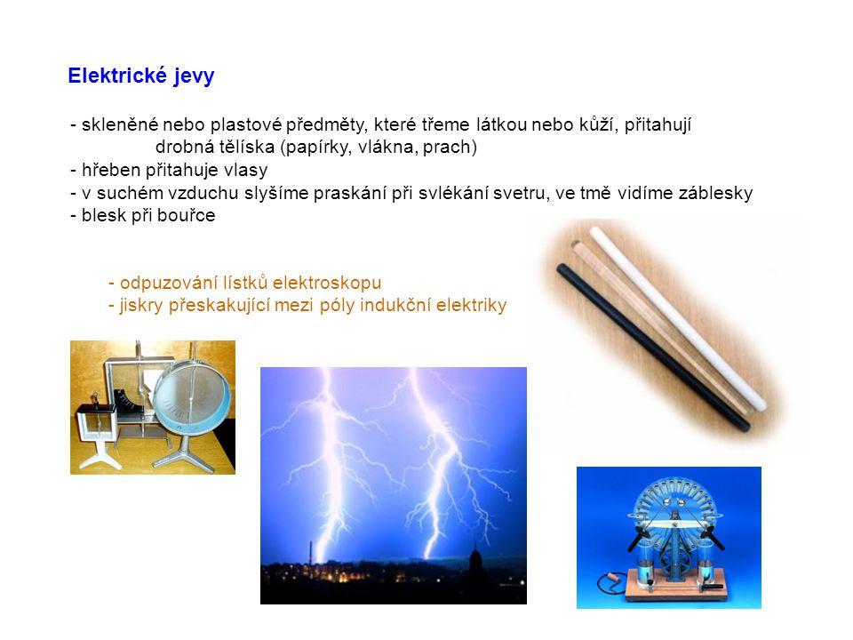 Elektrické jevy - skleněné nebo plastové předměty, které třeme látkou nebo kůží, přitahují drobná tělíska (papírky, vlákna, prach) - hřeben přitahuje