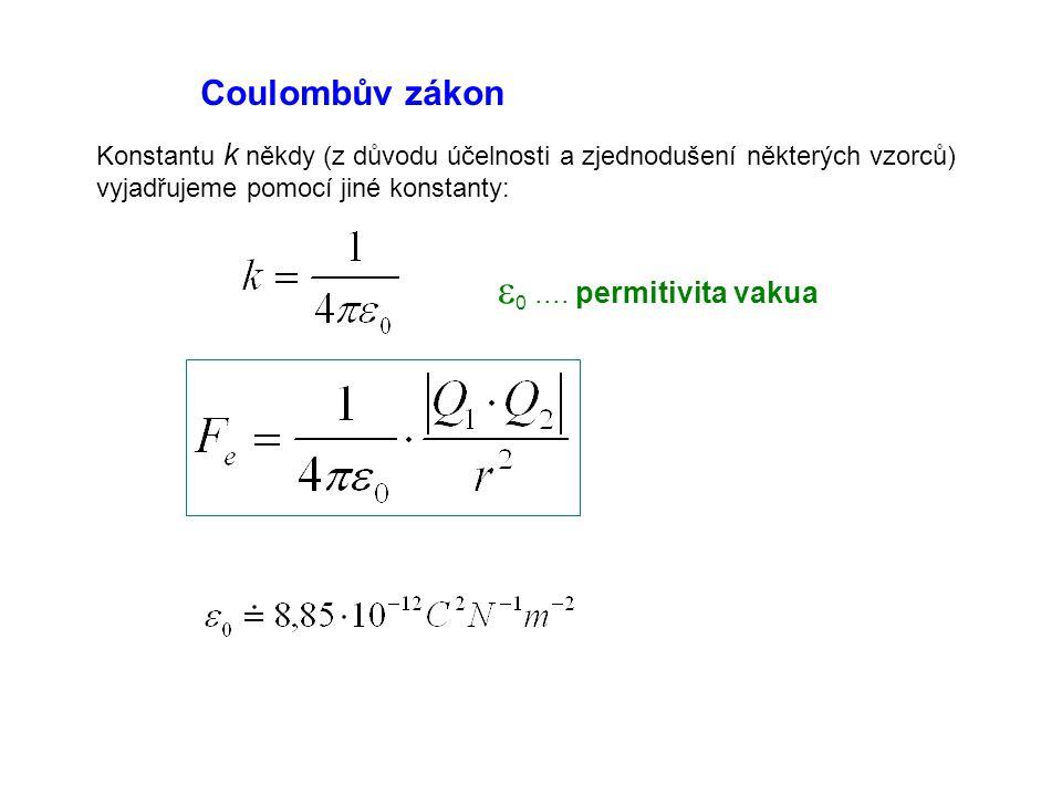 Coulombův zákon Konstantu k někdy (z důvodu účelnosti a zjednodušení některých vzorců) vyjadřujeme pomocí jiné konstanty:  0.... permitivita vakua