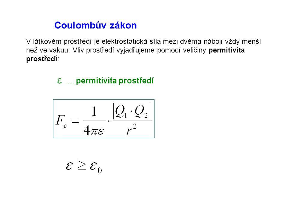 Coulombův zákon V látkovém prostředí je elektrostatická síla mezi dvěma náboji vždy menší než ve vakuu. Vliv prostředí vyjadřujeme pomocí veličiny per