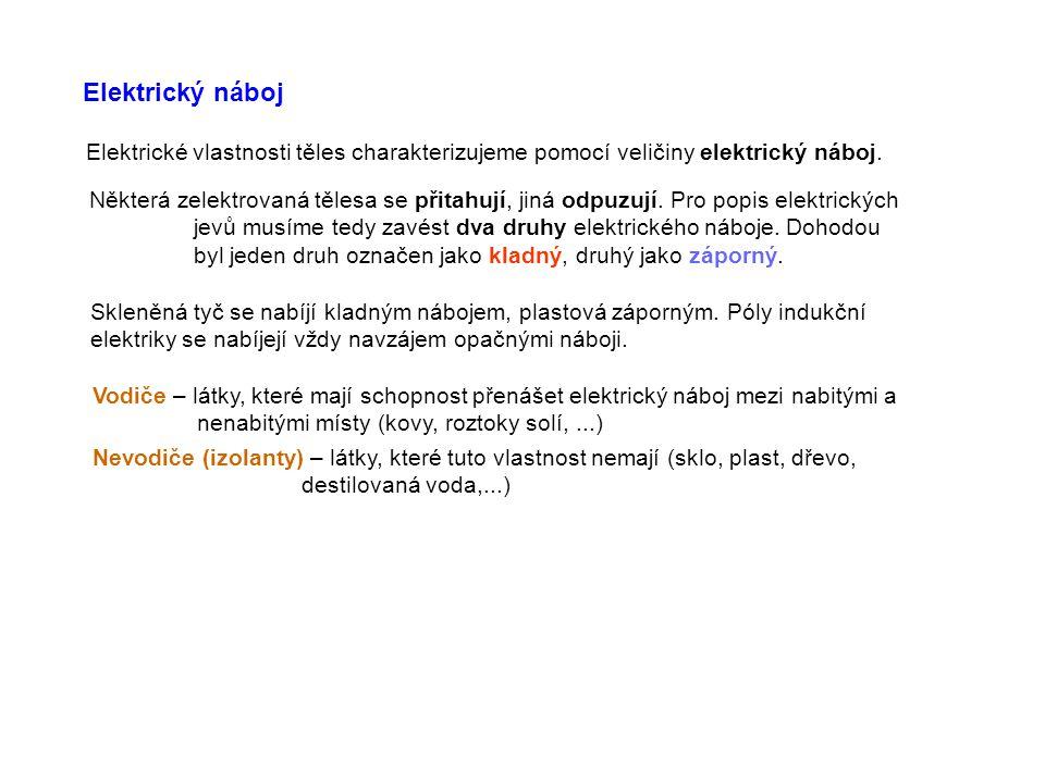 Elektrický náboj Elektrické vlastnosti těles charakterizujeme pomocí veličiny elektrický náboj.