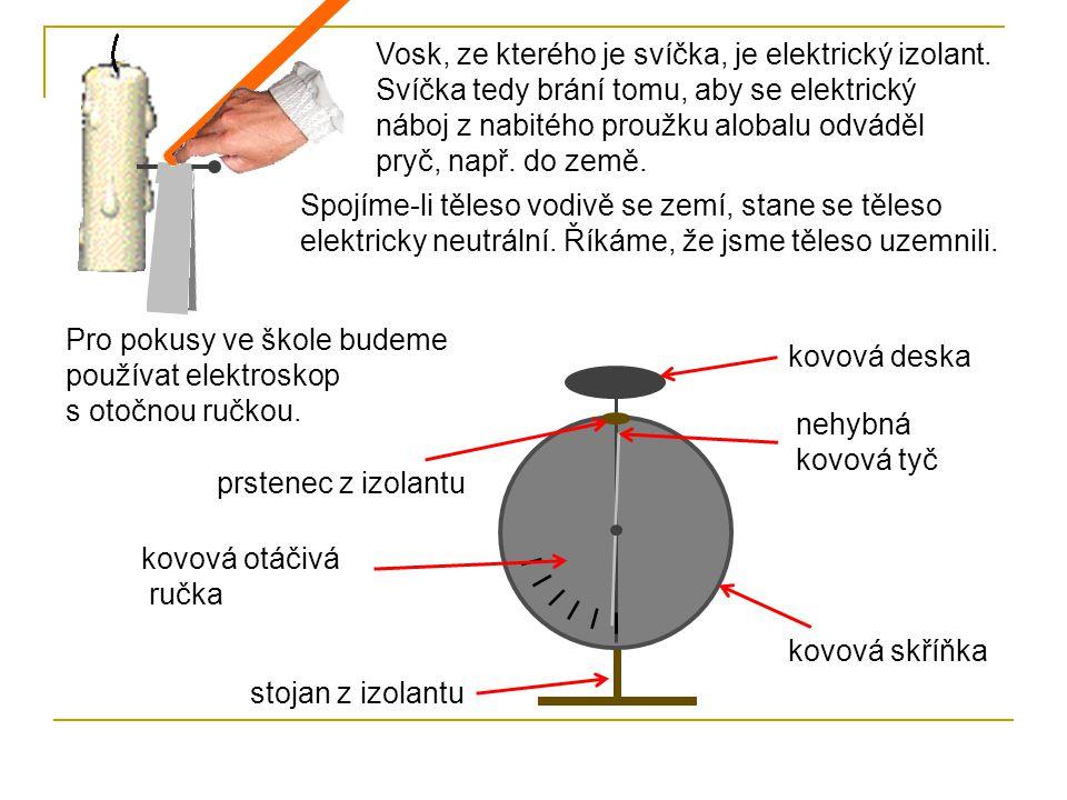 + + Elektroskopu se dotkneme kladně nabitou tyčí.