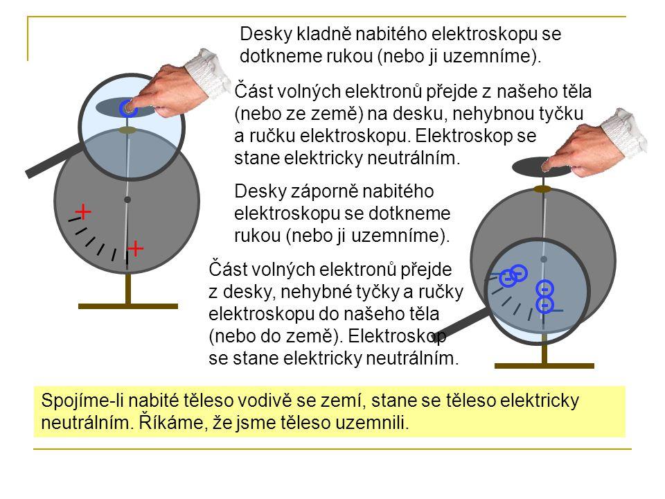 + + ̶ ̶ Desky kladně nabitého elektroskopu se dotkneme rukou (nebo ji uzemníme). Část volných elektronů přejde z našeho těla (nebo ze země) na desku,