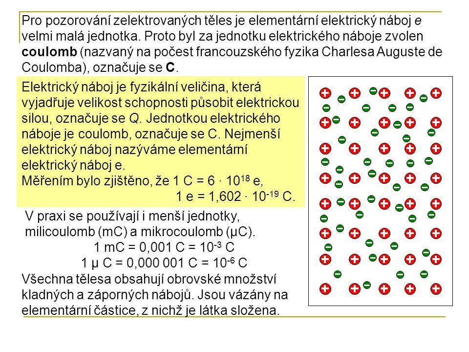 Pro pozorování zelektrovaných těles je elementární elektrický náboj e velmi malá jednotka. Proto byl za jednotku elektrického náboje zvolen coulomb (n