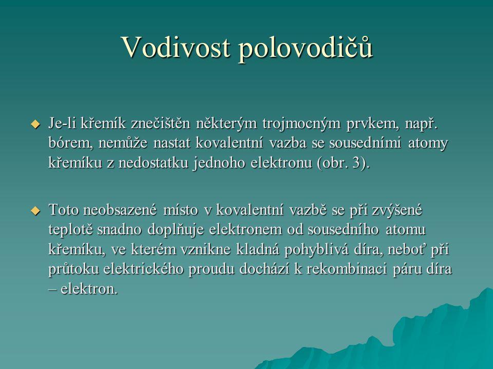 Vodivost polovodičů  Je-li křemík znečištěn některým trojmocným prvkem, např.