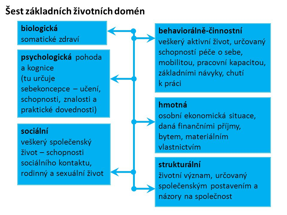 Šest základních životních domén strukturální životní význam, určovaný společenským postavením a názory na společnost psychologická pohoda a kognice (t