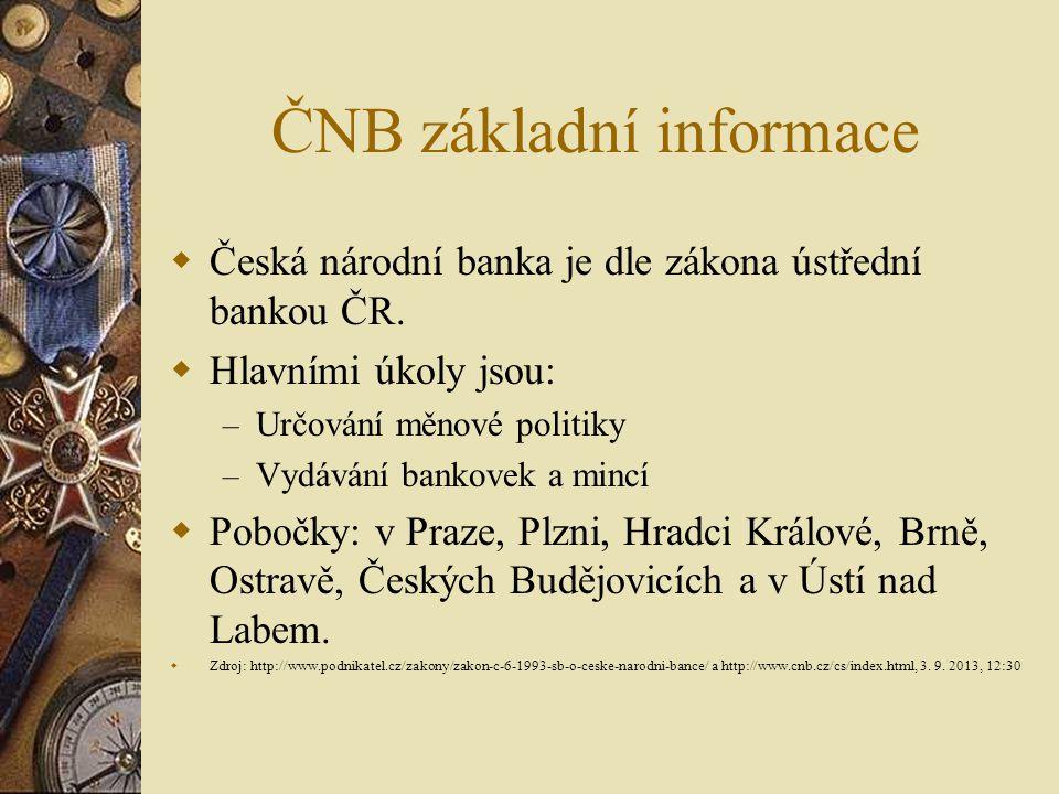 ČNB základní informace  Česká národní banka je dle zákona ústřední bankou ČR.  Hlavními úkoly jsou: – Určování měnové politiky – Vydávání bankovek a