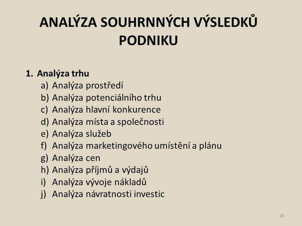 ANALÝZA SOUHRNNÝCH VÝSLEDKŮ PODNIKU 18 1.Analýza trhu a)Analýza prostředí b)Analýza potenciálního trhu c)Analýza hlavní konkurence d)Analýza místa a s