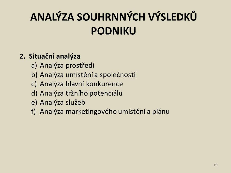 ANALÝZA SOUHRNNÝCH VÝSLEDKŮ PODNIKU 19 2. Situační analýza a)Analýza prostředí b)Analýza umístění a společnosti c)Analýza hlavní konkurence d)Analýza