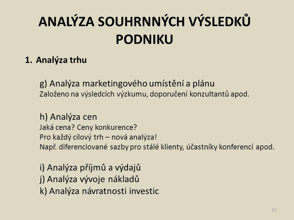 ANALÝZA SOUHRNNÝCH VÝSLEDKŮ PODNIKU 23 1.Analýza trhu g) Analýza marketingového umístění a plánu Založeno na výsledcích výzkumu, doporučení konzultant