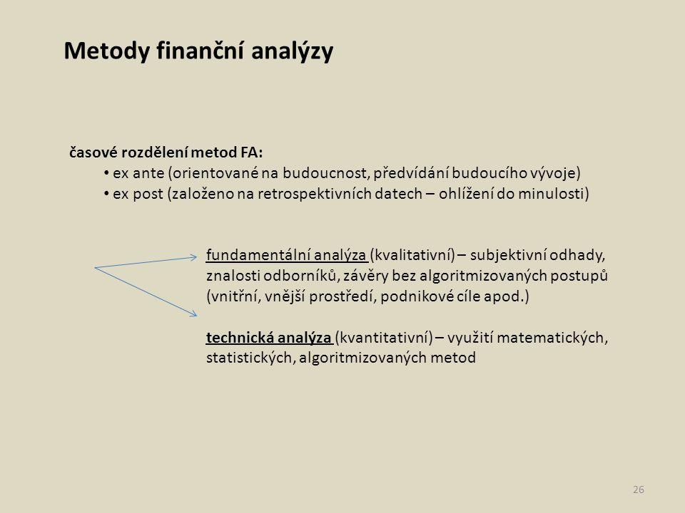 Metody finanční analýzy časové rozdělení metod FA: ex ante (orientované na budoucnost, předvídání budoucího vývoje) ex post (založeno na retrospektivn