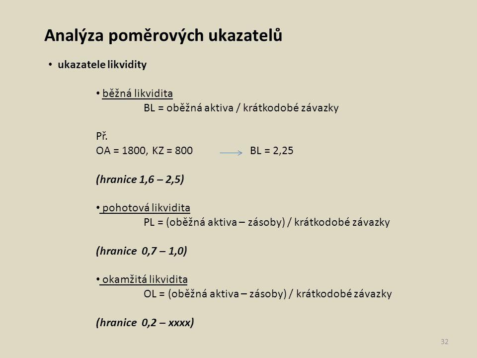 Analýza poměrových ukazatelů ukazatele likvidity běžná likvidita BL = oběžná aktiva / krátkodobé závazky Př. OA = 1800, KZ = 800 BL = 2,25 (hranice 1,