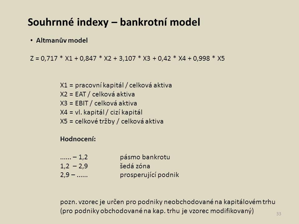 Souhrnné indexy – bankrotní model Altmanův model Z = 0,717 * X1 + 0,847 * X2 + 3,107 * X3 + 0,42 * X4 + 0,998 * X5 X1 = pracovní kapitál / celková akt