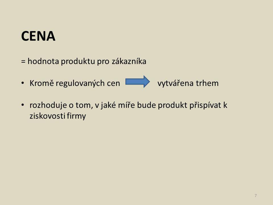 CENA = hodnota produktu pro zákazníka Kromě regulovaných cen vytvářena trhem rozhoduje o tom, v jaké míře bude produkt přispívat k ziskovosti firmy 7
