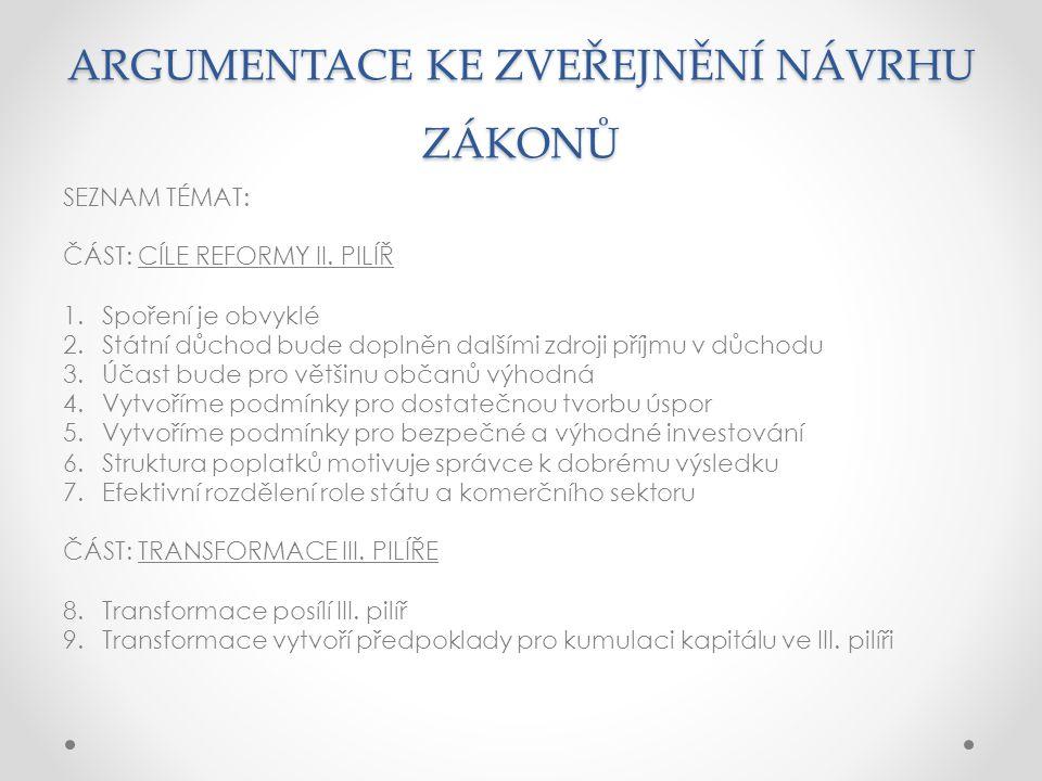 ARGUMENTACE KE ZVEŘEJNĚNÍ NÁVRHU ZÁKONŮ SEZNAM TÉMAT: ČÁST: CÍLE REFORMY II.