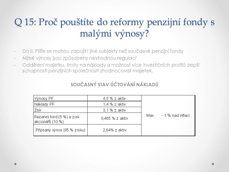 Q 15: Proč pouštíte do reformy penzijní fondy s malými výnosy.