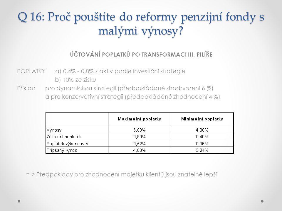Q 16: Proč pouštíte do reformy penzijní fondy s malými výnosy.