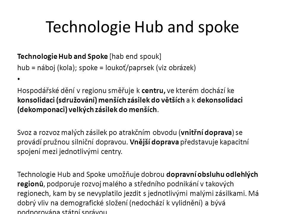 Technologie Hub and spoke Technologie Hub and Spoke [hab end spouk] hub = náboj (kola); spoke = loukoť/paprsek (viz obrázek) Hospodářské dění v region