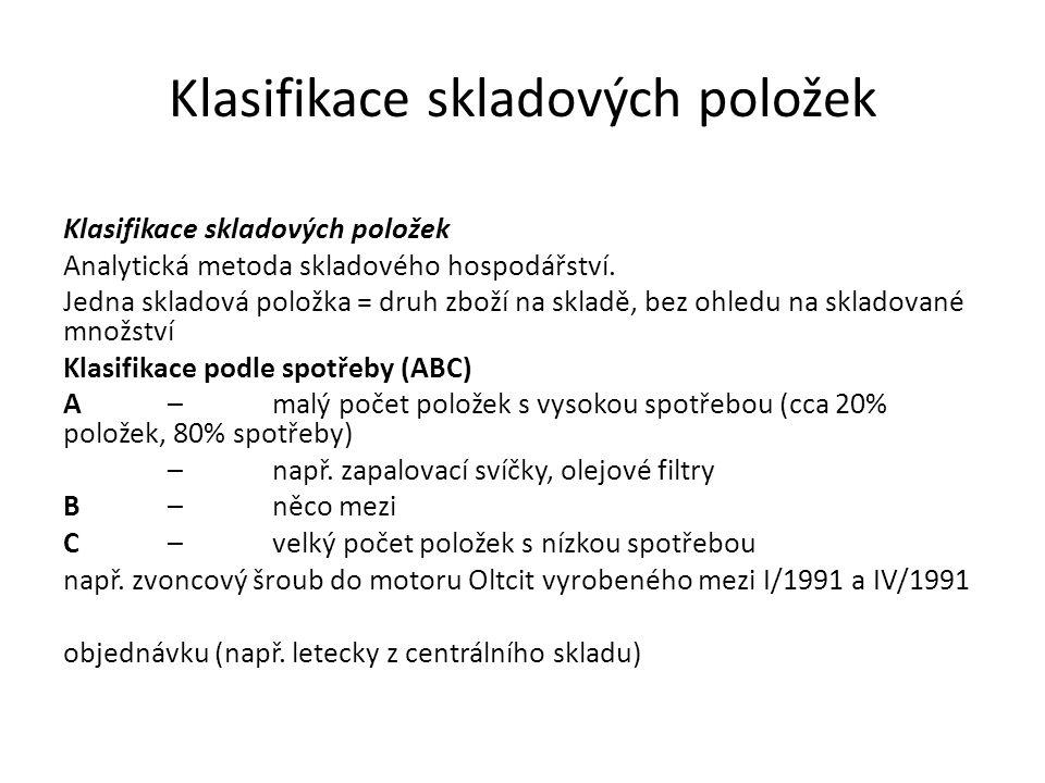 Klasifikace skladových položek Analytická metoda skladového hospodářství. Jedna skladová položka = druh zboží na skladě, bez ohledu na skladované množ