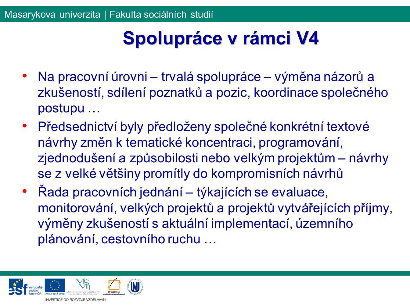 Masarykova univerzita | Fakulta sociálních studií Spolupráce v rámci V4 Na pracovní úrovni – trvalá spolupráce – výměna názorů a zkušeností, sdílení p