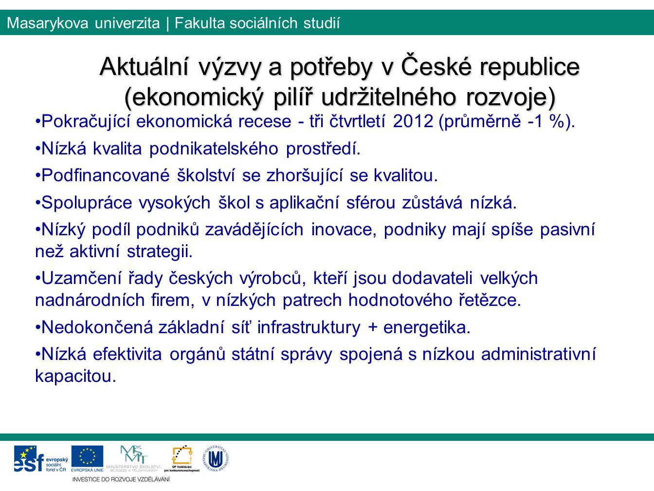 Masarykova univerzita | Fakulta sociálních studií Aktuální výzvy a potřeby v České republice (ekonomický pilíř udržitelného rozvoje) Pokračující ekono