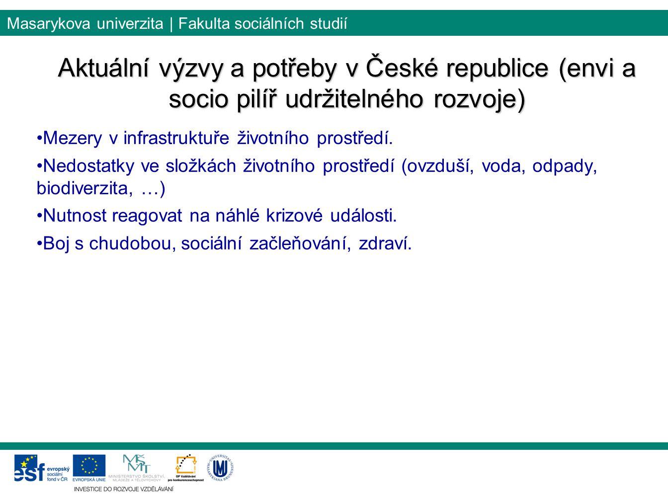 Masarykova univerzita | Fakulta sociálních studií Aktuální výzvy a potřeby v České republice (envi a socio pilíř udržitelného rozvoje) Mezery v infras