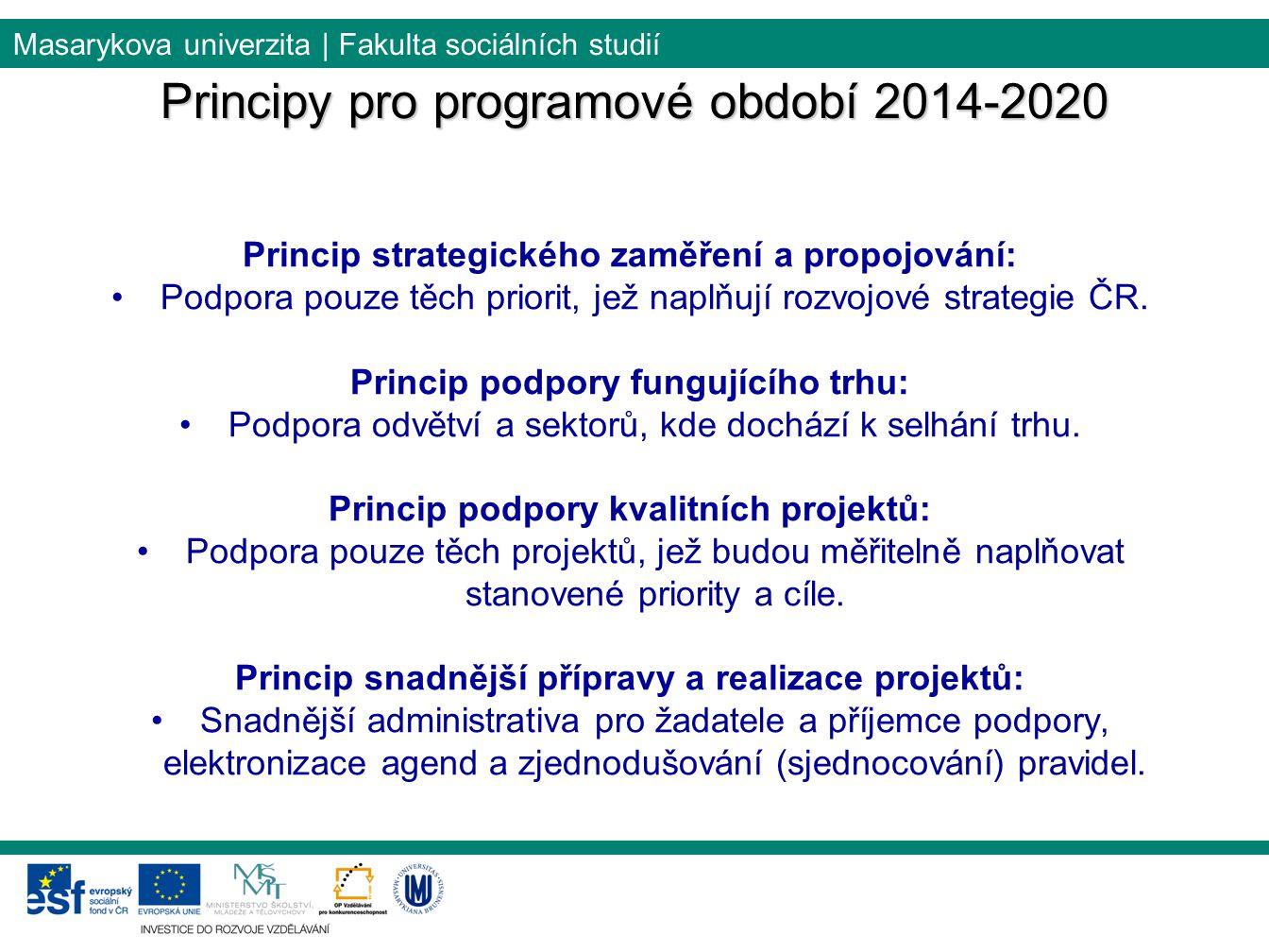 Masarykova univerzita | Fakulta sociálních studií Princip strategického zaměření a propojování: Podpora pouze těch priorit, jež naplňují rozvojové strategie ČR.