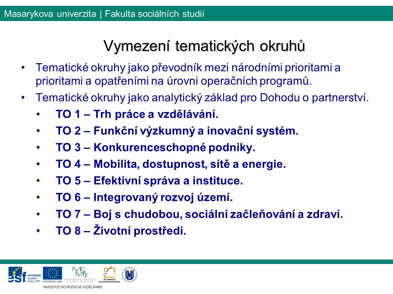 Masarykova univerzita | Fakulta sociálních studií Vymezení tematických okruhů Tematické okruhy jako převodník mezi národními prioritami a prioritami a opatřeními na úrovni operačních programů.