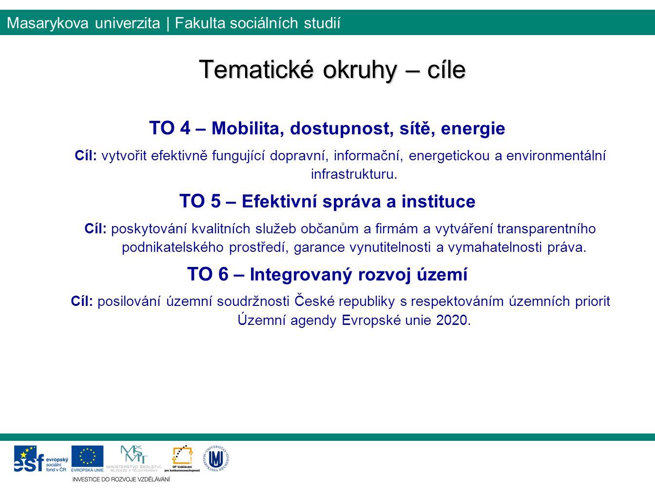 Masarykova univerzita | Fakulta sociálních studií Tematické okruhy – cíle TO 4 – Mobilita, dostupnost, sítě, energie Cíl: vytvořit efektivně fungující dopravní, informační, energetickou a environmentální infrastrukturu.
