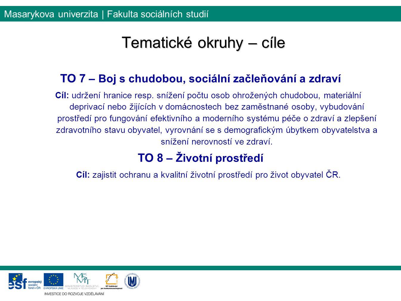 Masarykova univerzita | Fakulta sociálních studií Tematické okruhy – cíle TO 7 – Boj s chudobou, sociální začleňování a zdraví Cíl: udržení hranice resp.