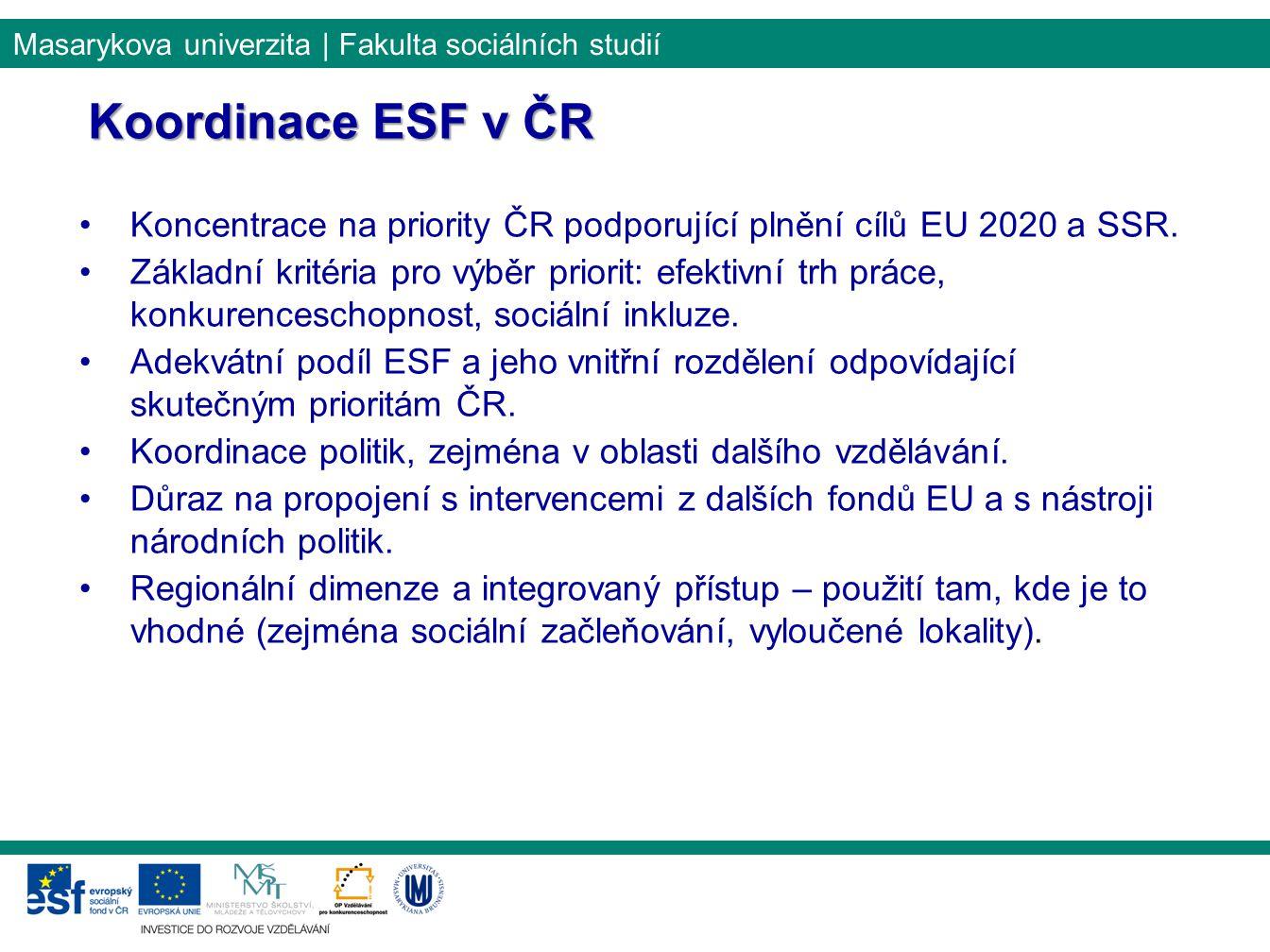 Masarykova univerzita | Fakulta sociálních studií Koordinace ESF v ČR Koncentrace na priority ČR podporující plnění cílů EU 2020 a SSR.