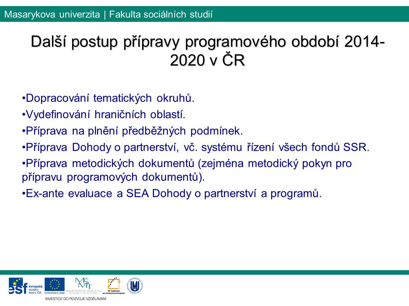 Masarykova univerzita | Fakulta sociálních studií Další postup přípravy programového období 2014- 2020 v ČR Dopracování tematických okruhů.