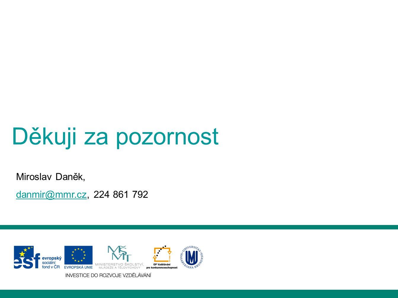 Děkuji za pozornost Miroslav Daněk, danmir@mmr.czdanmir@mmr.cz, 224 861 792
