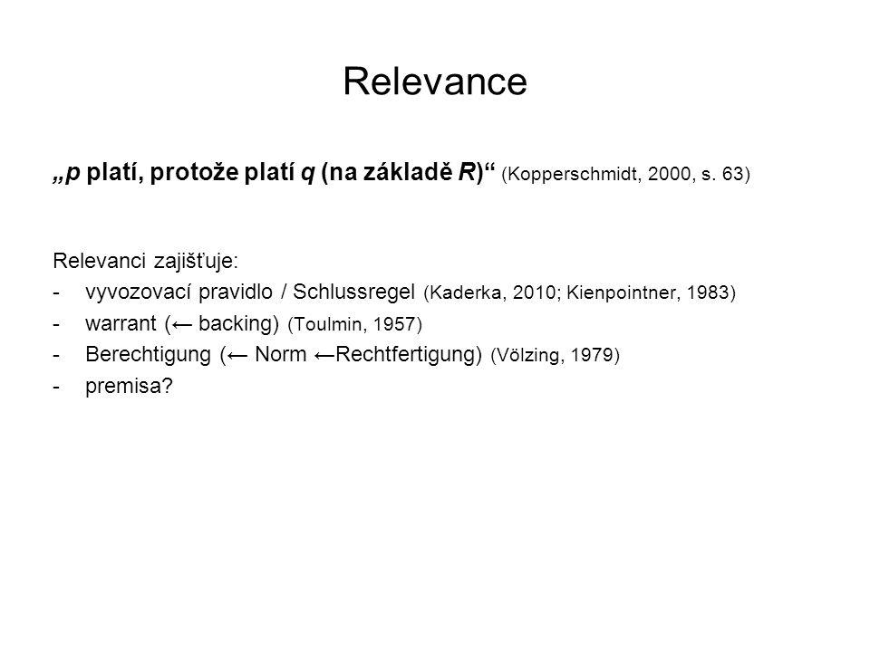 """Relevance """"p platí, protože platí q (na základě R)"""" (Kopperschmidt, 2000, s. 63) Relevanci zajišťuje: -vyvozovací pravidlo / Schlussregel (Kaderka, 20"""