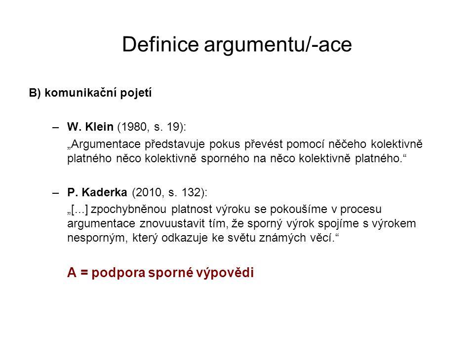 """Definice argumentu/-ace B) komunikační pojetí –W. Klein (1980, s. 19): """"Argumentace představuje pokus převést pomocí něčeho kolektivně platného něco k"""
