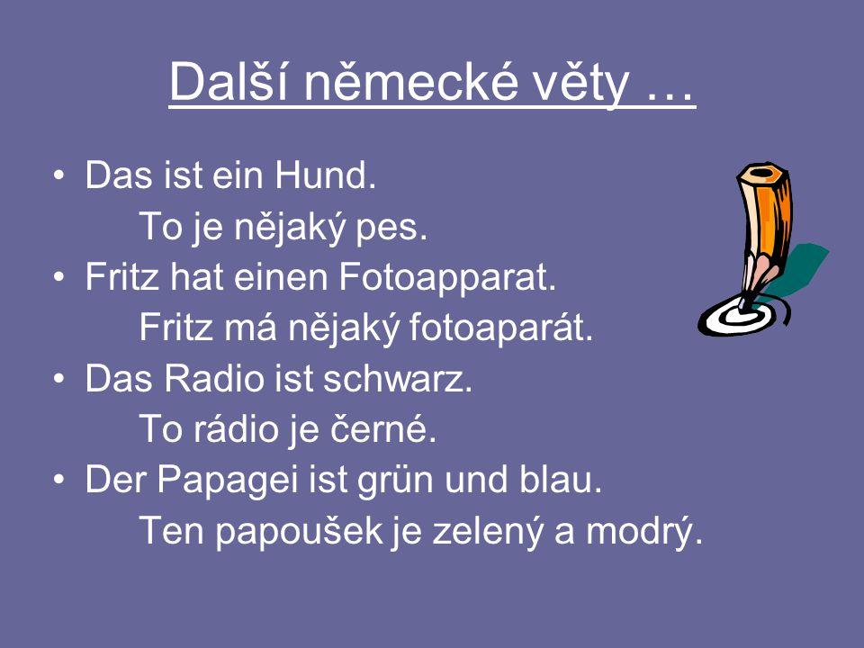 Další německé věty … Das ist ein Hund. To je nějaký pes.