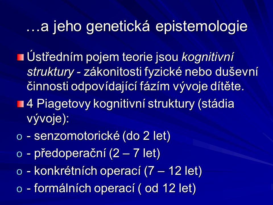 …a jeho genetická epistemologie Ústředním pojem teorie jsou kognitivní struktury - zákonitosti fyzické nebo duševní činnosti odpovídající fázím vývoje