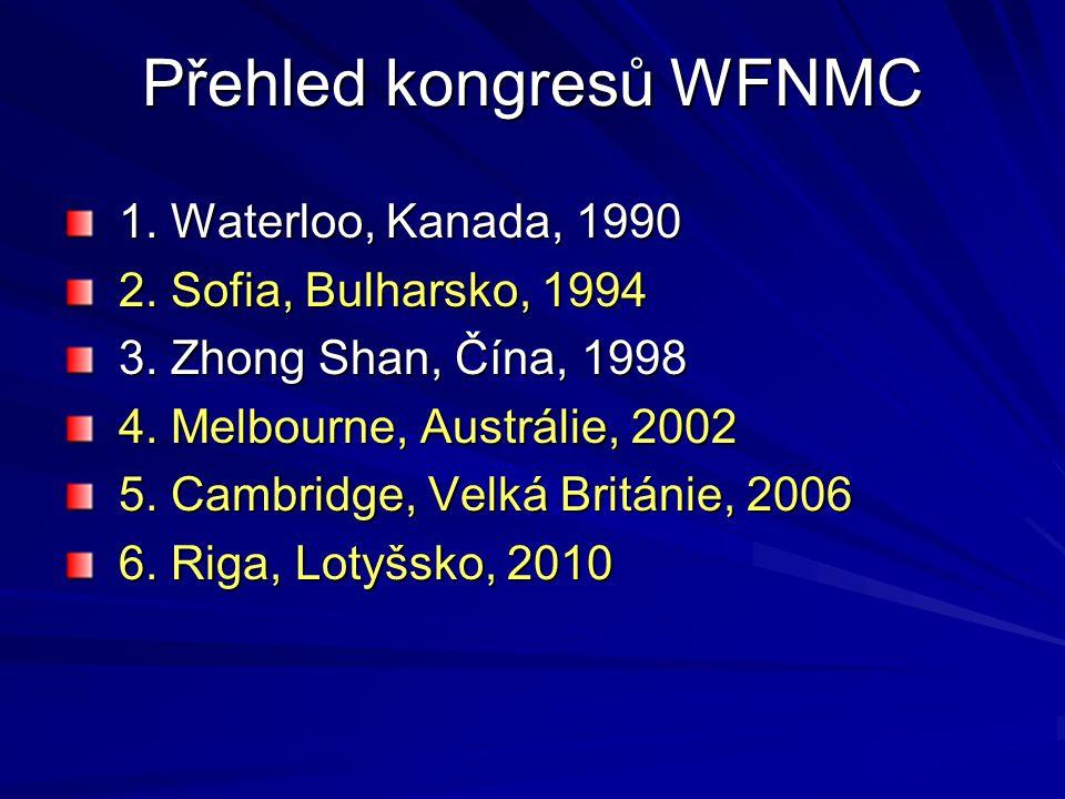Přehled kongresů WFNMC 1. Waterloo, Kanada, 1990 2. Sofia, Bulharsko, 1994 3. Zhong Shan, Čína, 1998 4. Melbourne, Austrálie, 2002 5. Cambridge, Velká