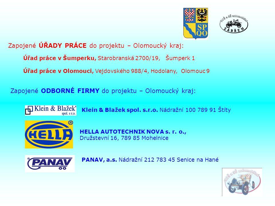 Zapojené ODBORNÉ FIRMY do projektu – Olomoucký kraj: Klein & Blažek spol.