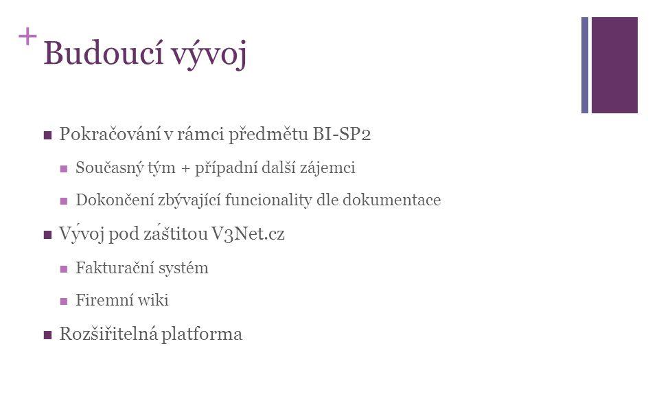 + Budoucí vývoj Pokračování v rámci předmětu BI-SP2 Současný tým + případní další zájemci Dokončení zbývající funcionality dle dokumentace Vyvojpod za