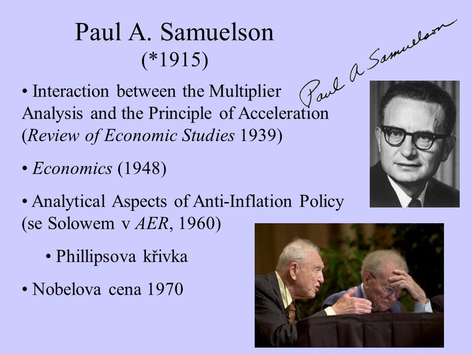 Paul A. Samuelson (*1915) Interaction between the Multiplier Analysis and the Principle of Acceleration (Review of Economic Studies 1939) Economics (1