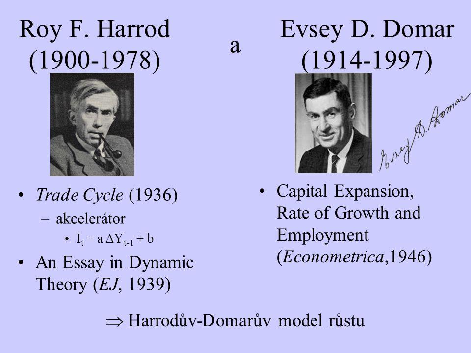 Roy F. Harrod (1900-1978) Evsey D. Domar (1914-1997) a Trade Cycle (1936) –akcelerátor I t = a ΔY t-1 + b An Essay in Dynamic Theory (EJ, 1939) Capita