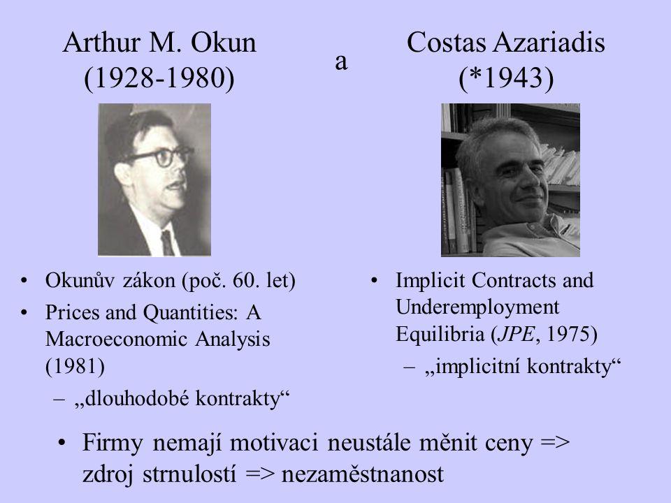 Arthur M. Okun (1928-1980) Firmy nemají motivaci neustále měnit ceny => zdroj strnulostí => nezaměstnanost Costas Azariadis (*1943) a Implicit Contrac