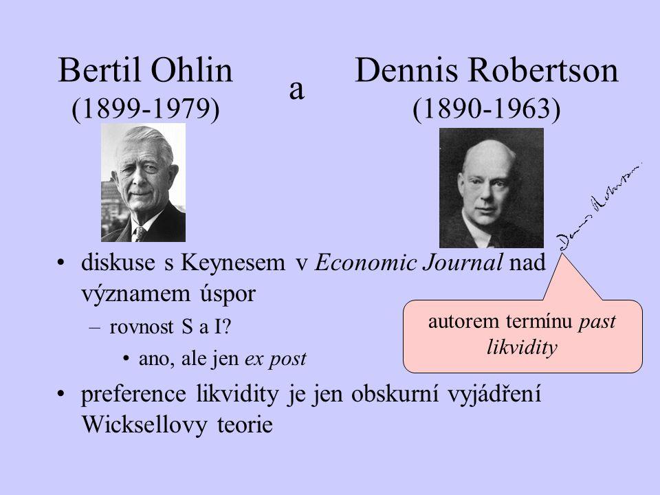 Bertil Ohlin (1899-1979) diskuse s Keynesem v Economic Journal nad významem úspor –rovnost S a I? ano, ale jen ex post preference likvidity je jen obs
