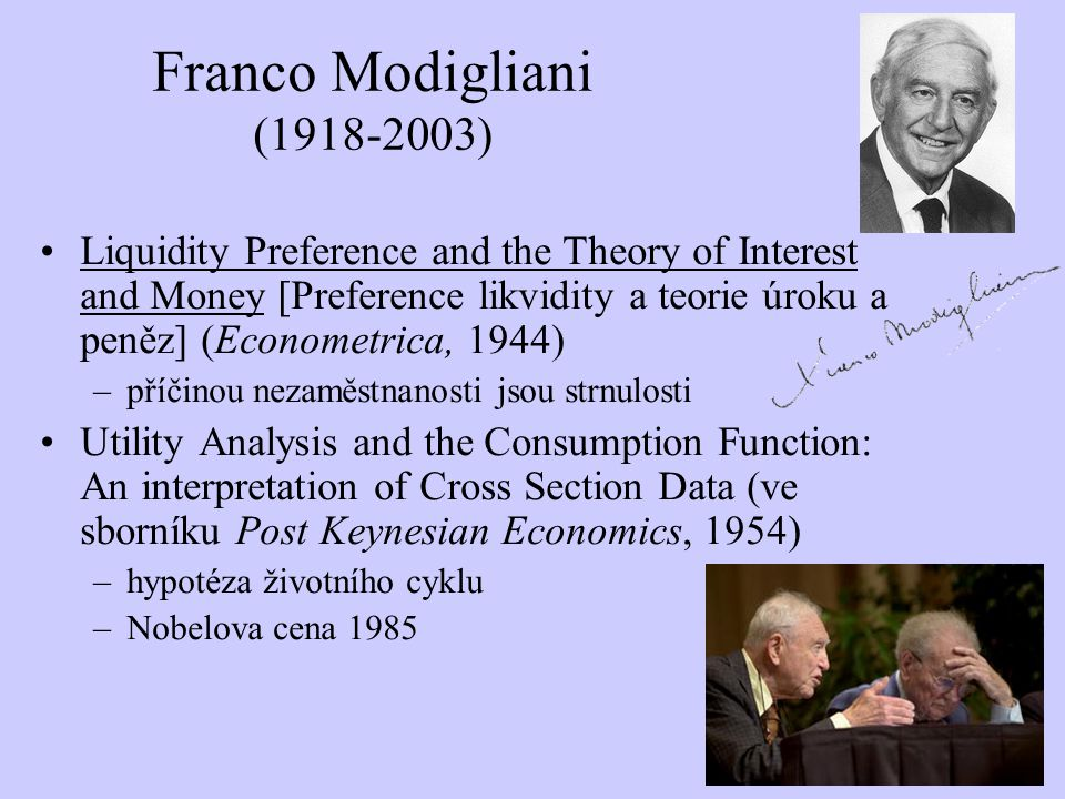 Franco Modigliani (1918-2003) Liquidity Preference and the Theory of Interest and Money [Preference likvidity a teorie úroku a peněz] (Econometrica, 1
