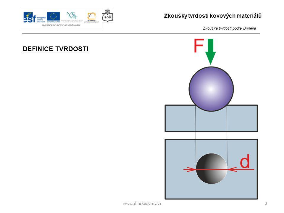 www.zlinskedumy.cz DEFINICE TVRDOSTI Tvrdost je odpor, který zkoumaný materiál klade proti vnikání cizího tělesa. 3 Zkoušky tvrdosti kovových materiál