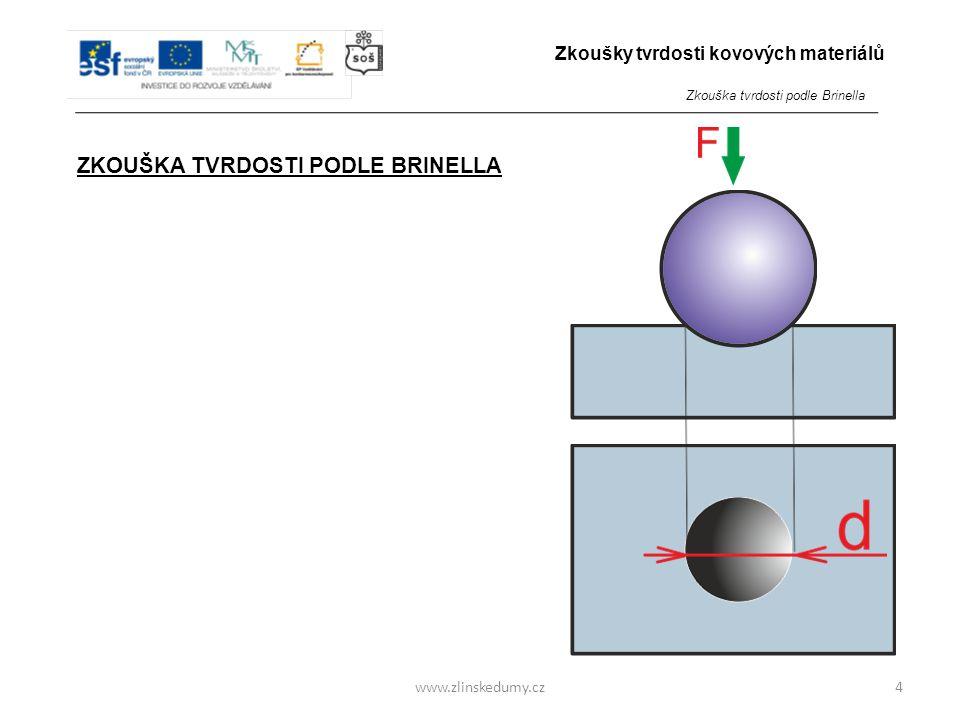 www.zlinskedumy.cz ZKOUŠKA TVRDOSTI PODLE BRINELLA - je zkouškou vnikací - do zkoumaného materiálu je zatlačováno tvrdší zkušební těleso přesného tvar
